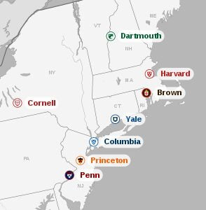 The location of each of the Ivy League Schools on a map